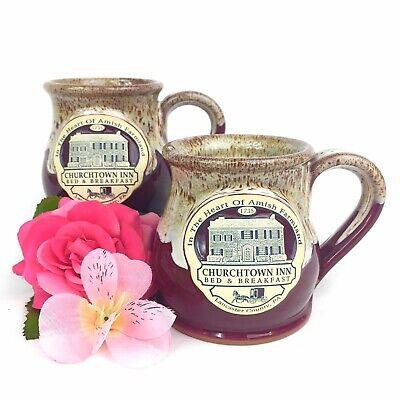 Deneen Pottery Set of 2 ChurchTown Inn Bed and Breakfast PA. Mugs Handthrown