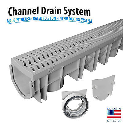 Channel Drain Grate - Source 1 Drainage Trench & Driveway Channel Drain Kit with Grate