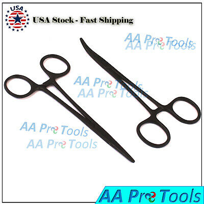 2pc Fishing Set 5 Straight Curved Hemostat Forceps Locking Clamps Black-color