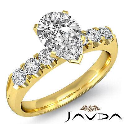 6 Stone Prong Set Pear Cut Diamond Engagement Ring GIA H SI1 Platinum 1.31 ct 5