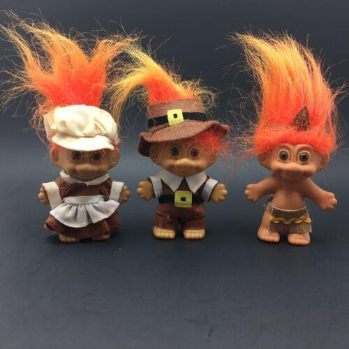 Russ Thanksgiving Pilgrim Native American Troll Dolls Lot Of 3 Orange Hair  - $24.99