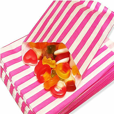 100 PINK CANDY STRIPE PAPER PARTY GIFT SWEET BAGS 5