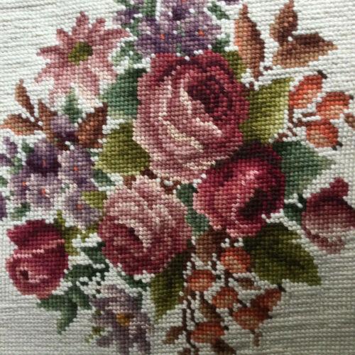Vintage Bucilla Preworked  Needlepoint Canvas Floral