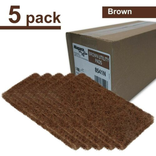 "(5 Pack) 3M Doodleb Niagara 8541N Brown Scrub & Strip Utility Pads 4 5/8"" x 10"""