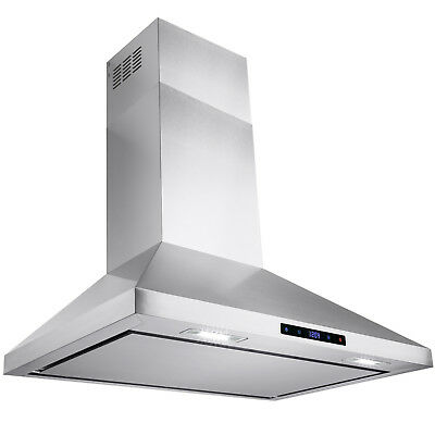 "30"" Stainless Steel Wall Mount Range Hood Touch Screen Display Kitchen Vented"
