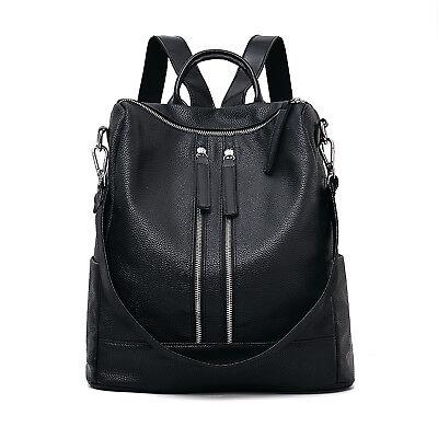 Schwarz Frauen Damen Rucksack Mode Umhängetasche Mädchen Rucksack PU Leder  - Damen Frauen Leder Schwarz