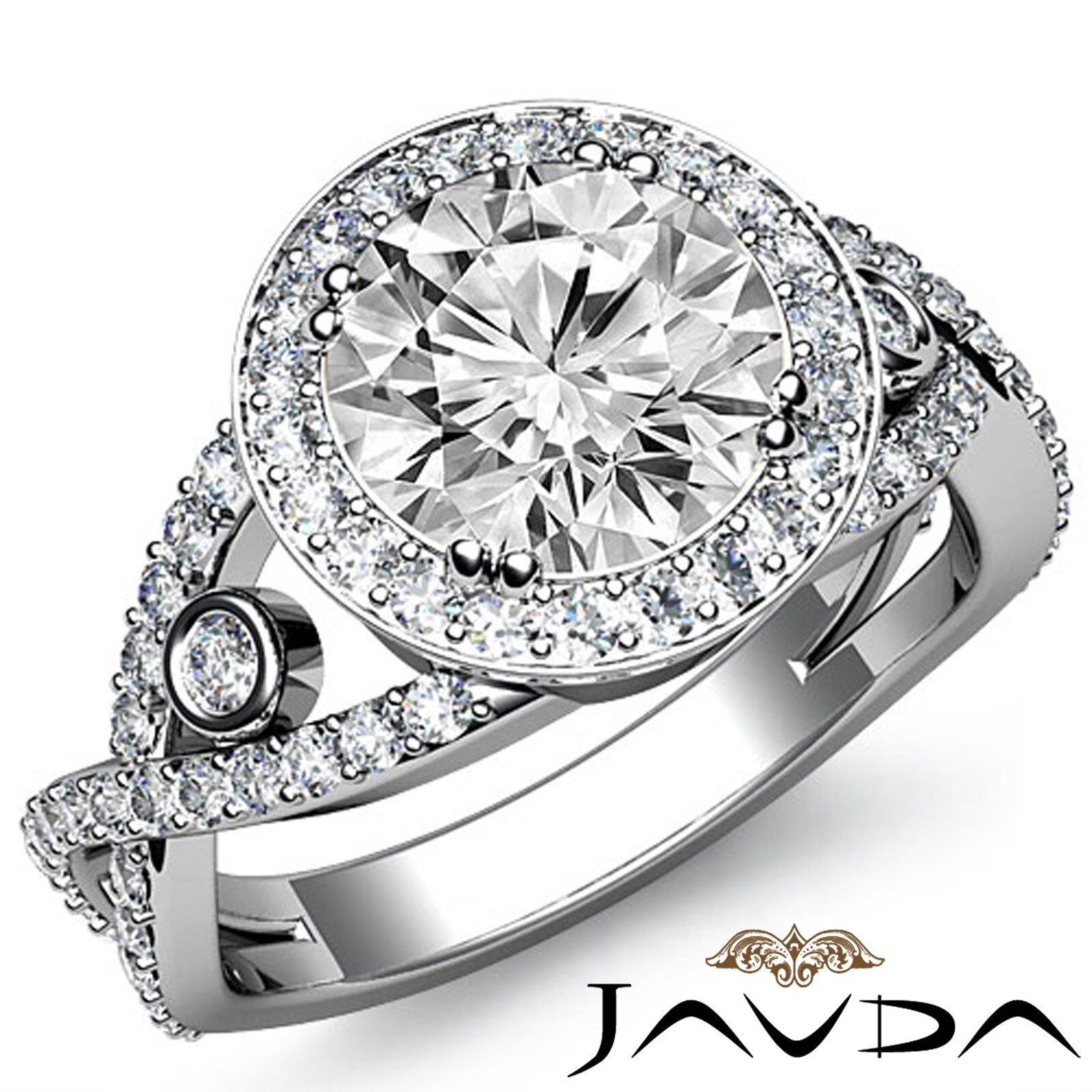 Bezel Set Cross Shank Halo Round Diamond Engagement Ring GIA I Color VS2 2.9Ct