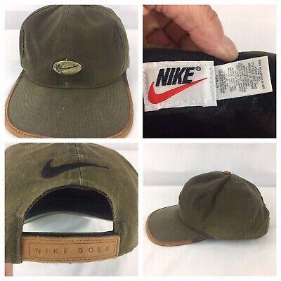 4515d35f32655 Vintage 90s Nike Golf Hat 100% Leather Trim Bronze Swoosh Logo Army Green