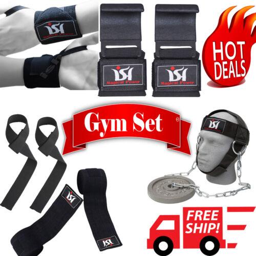Gym Weight Lifting Set Knee Wraps Wrist Wraps Head Harness Hooks Straps Training