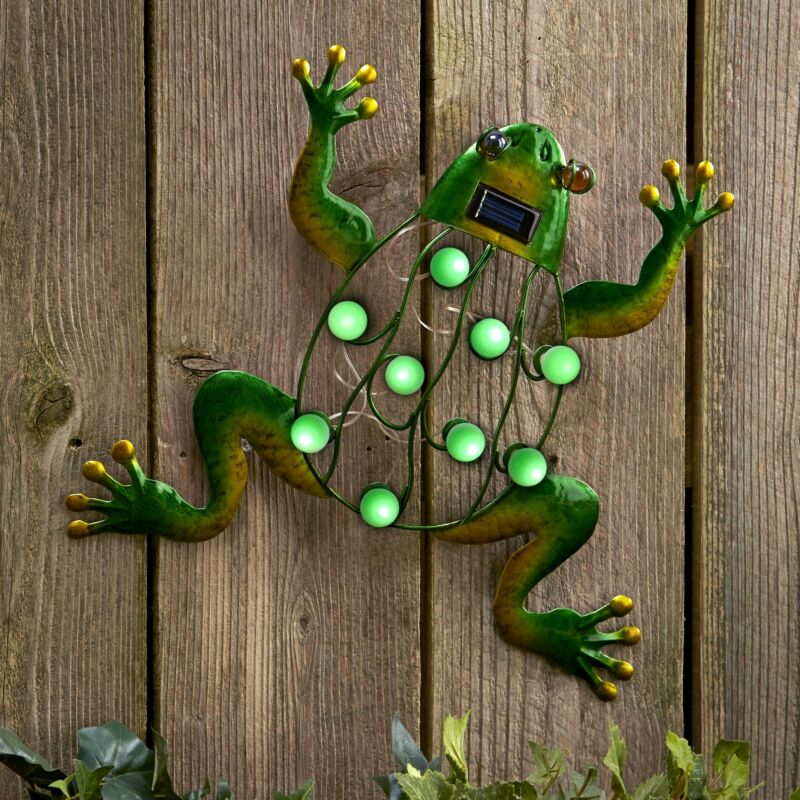 Solar Lighted Frog - Garden Wall Art Accent - Ready to Hang