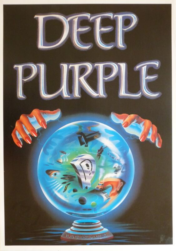 "DEEP PURPLE ""SLAVE & MASTERS"" U.K. COMMERCIAL POSTER - HARD ROCK MUSIC"