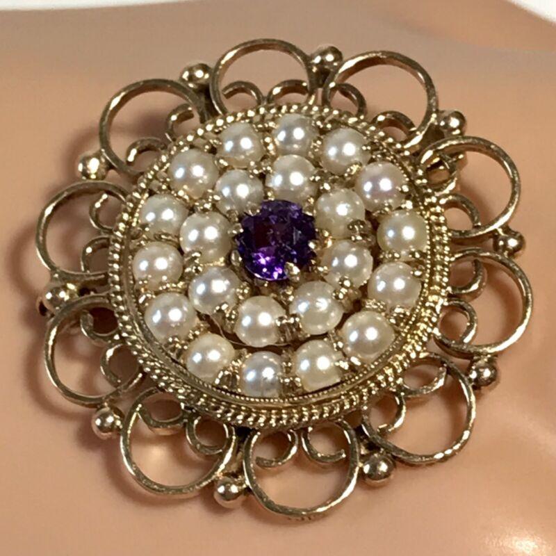 Estate Victorian 9 Carat Gold Facet Cut Amethyst & Split Pearl Circular Brooch