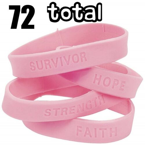 72 Bracelets Pink Breast Cancer Awareness Silicone Rubber Wristbands (6 dz)