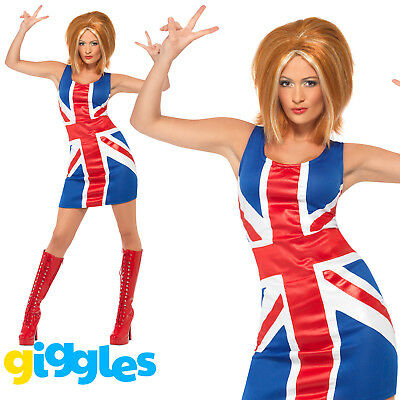 Ginger Spice Costume (Ginger Spice Girls Costume Union Jack 90s Adult Womens Ladies Fancy Dress)