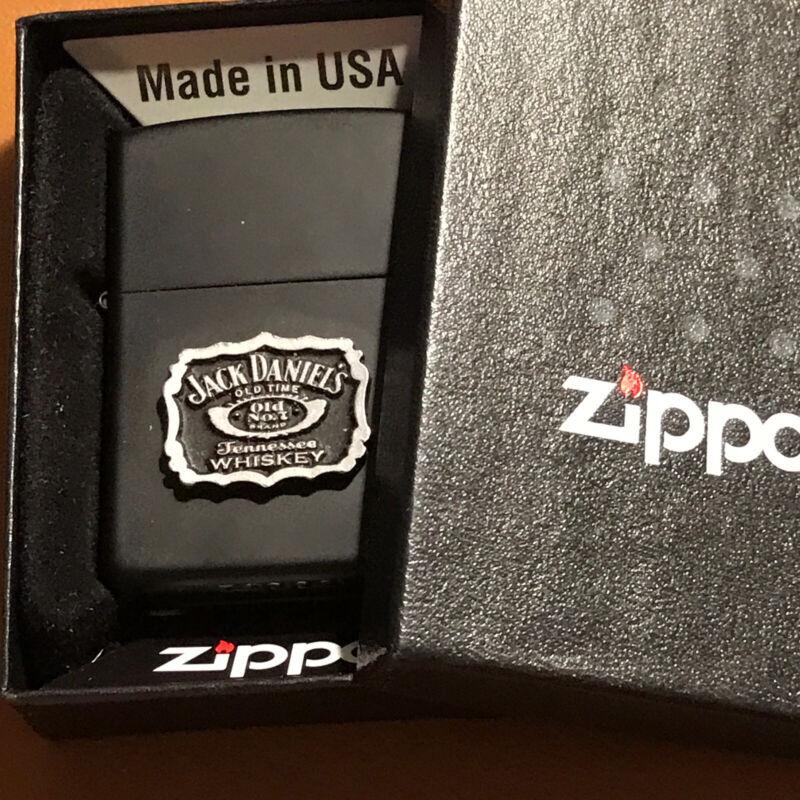 Jack Daniels Zippo Lighter Black Matte Pewter In Box  RARE 2019 New In Box