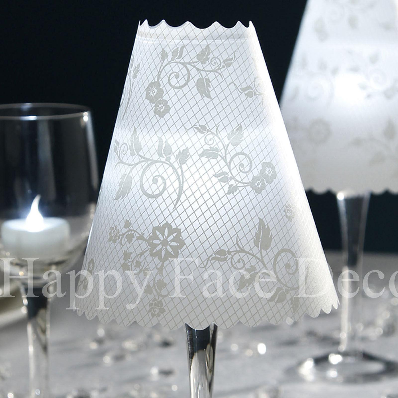 48 wine glass vellum shades david tutera floral swirl for Wine glass lamp centerpiece