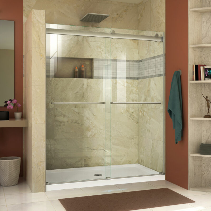 "DreamLine SHDR-6360760-04 Essence 56-60x76"" Bypass Shower Door, Brushed Nickel"