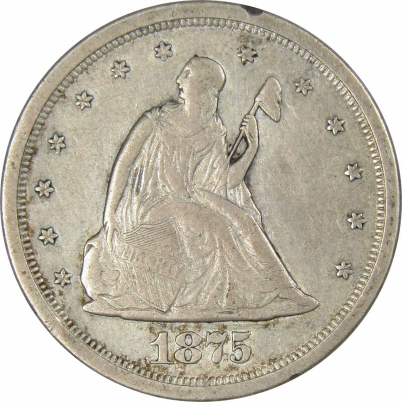 1875 S 20c Seated Liberty Silver Twenty Cent Piece Coin VF Very Fine Details