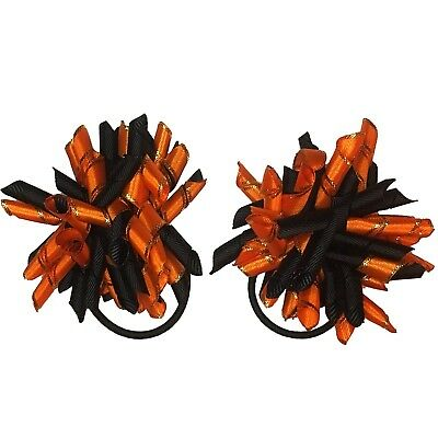 Handmade pair korker girls hair bows bobbles ribbon school halloween orange