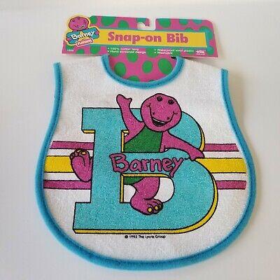 Vintage 1993 Playskool Barney B Baby Plastic Terry Snap On Bib Washable New Infant Snap Terry Bibs