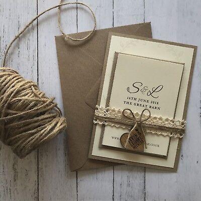 Rustic Shabby Chic Wedding Invitations. Wedding Stationery, With Rsvp