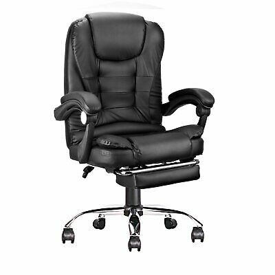 Ergonomic High-back Office Computer Chair Pu Leather 360 Swivel Black Footrest