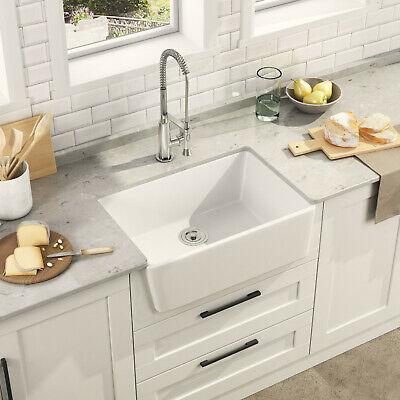 24 inches White Ceramic Rectangle Farmhouse Apron Kitchen Sink Single Bowl