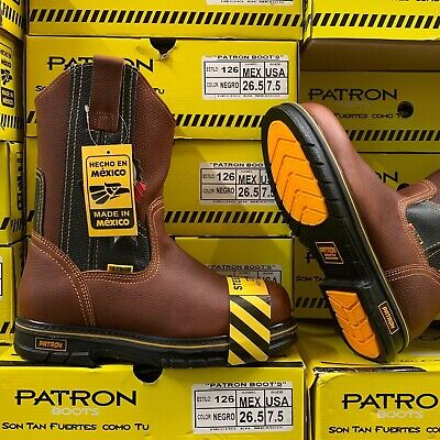 MEN'S STEEL TOE WORK BOOTS PULL ON SAFETY GENUINE LEATHER OIL RESISTANT #109 BRO