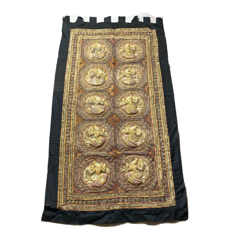 """Vintage Kalaga Wall Hanging Tapestry Asian Burmese Thai  62""""x34"""""""