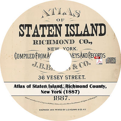 1887 Atlas & Plat Maps of Staten Island, Richmond County, New York ~ Map Book CD