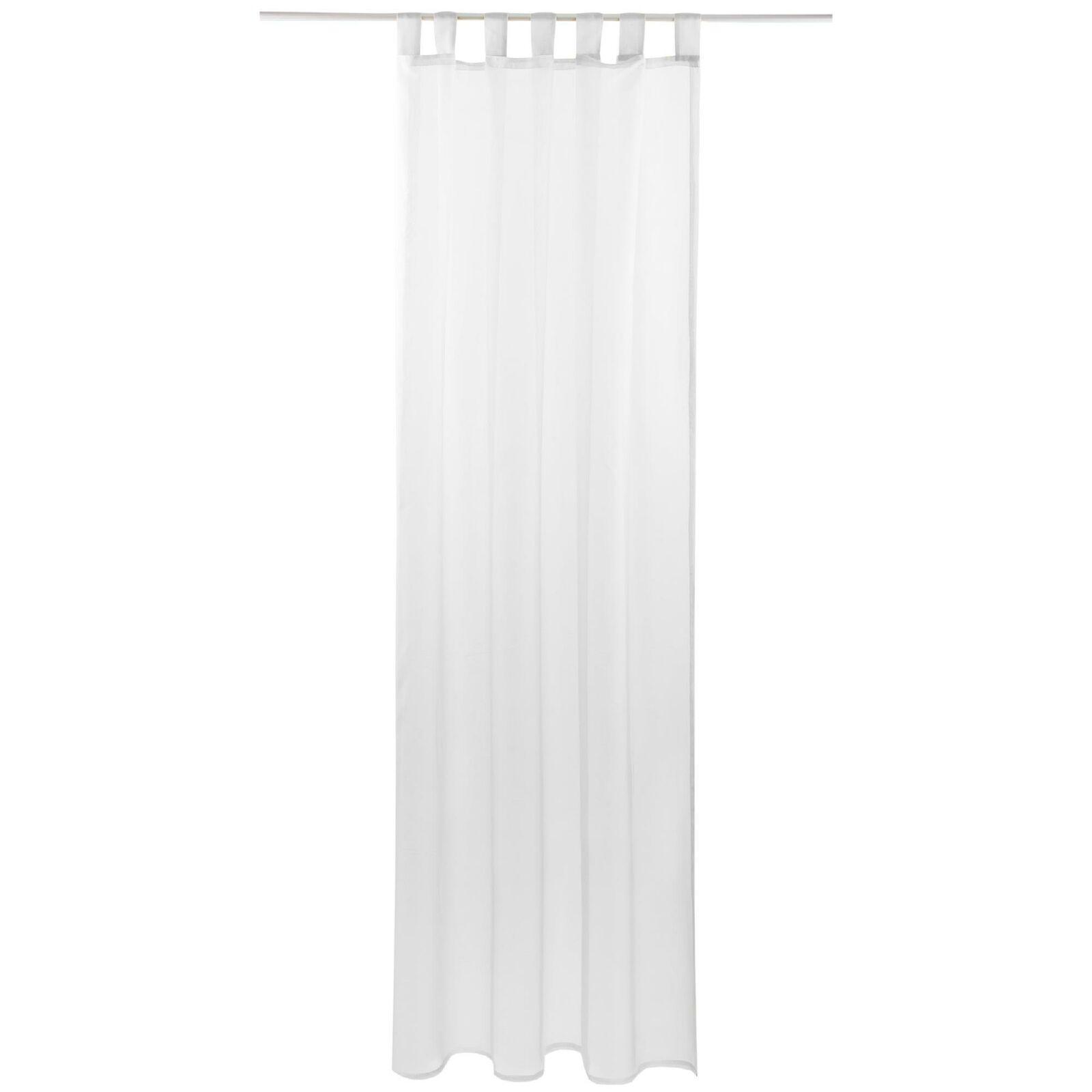 Schlaufenschal Vorhang mit Schlaufen Transparent Voile Uni Gardine große Auswahl weiß - reinweiß