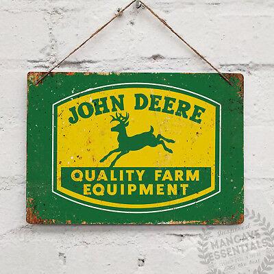 Farm Equipment (John Deere Farm Equipment Replica Vintage Metal Wall Sign Retro Tractor Gift )