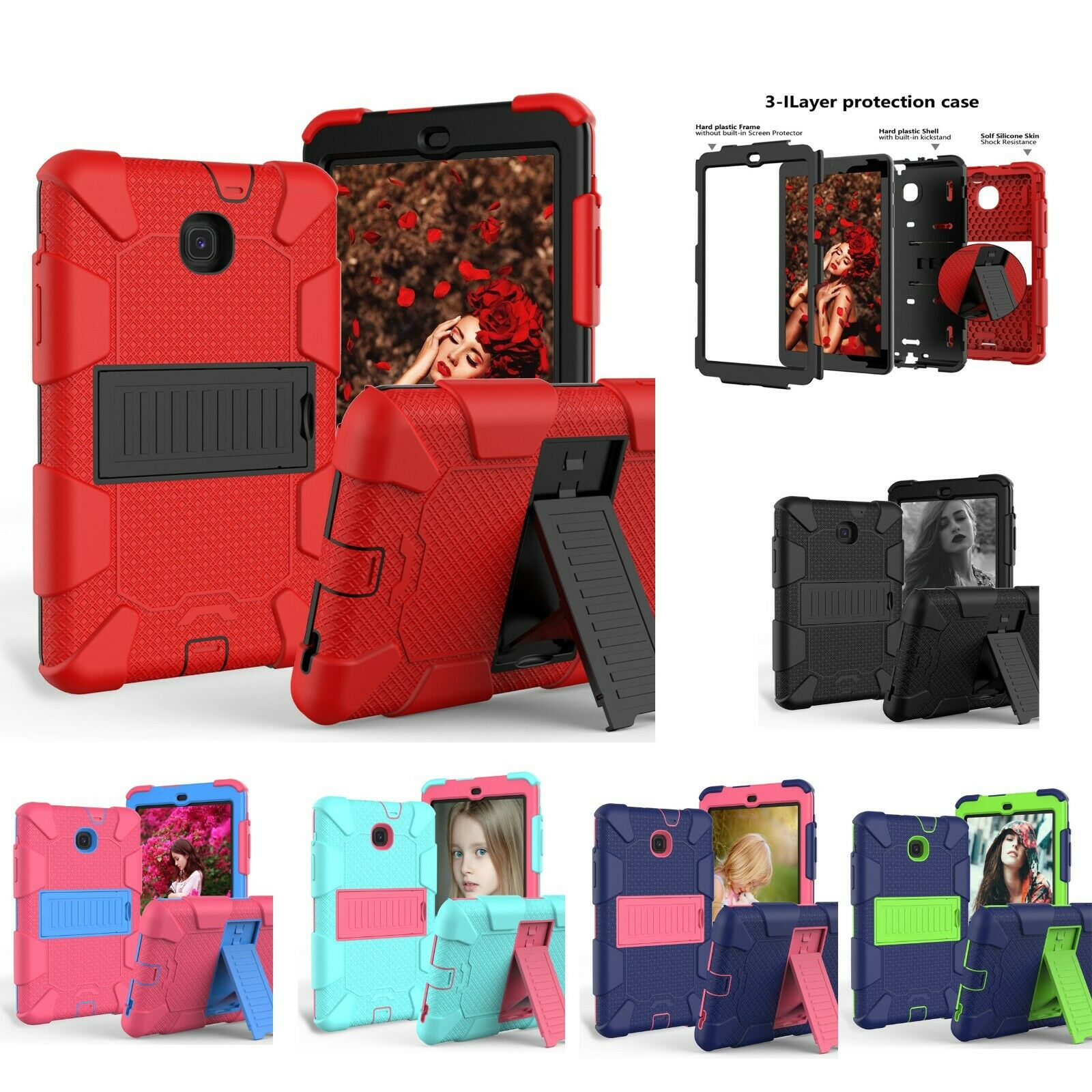 For Samsung Galaxy Tab A 8.0 2018 SM-T387 Hybrid Shockproof Impact Case Cover Cases, Covers, Keyboard Folios
