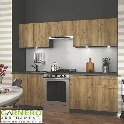 Cucina moderna componibile completa URBAN 240 cm legno rovere antracite design