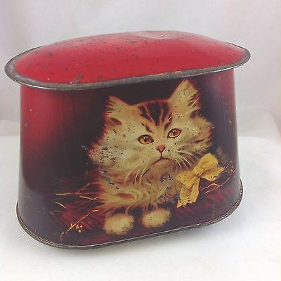 CUTE CATS BRITISH BISCUIT TIN c1910 ADORABLE KITTENS