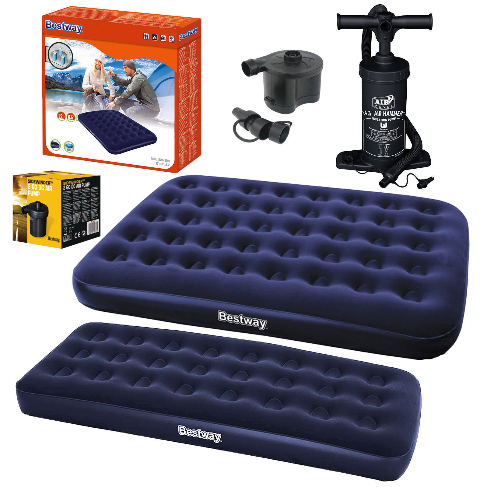 Airbed Single Double King Flocked Inflatable Mattress Air Be