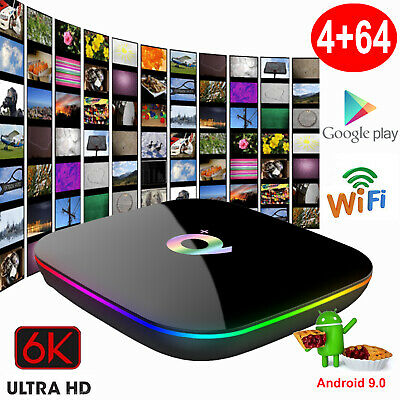 Q plus 6K 4+64GB Android 9.0 Quad Core Smart TV Box WIFI Media Streamer 3D Films online kaufen