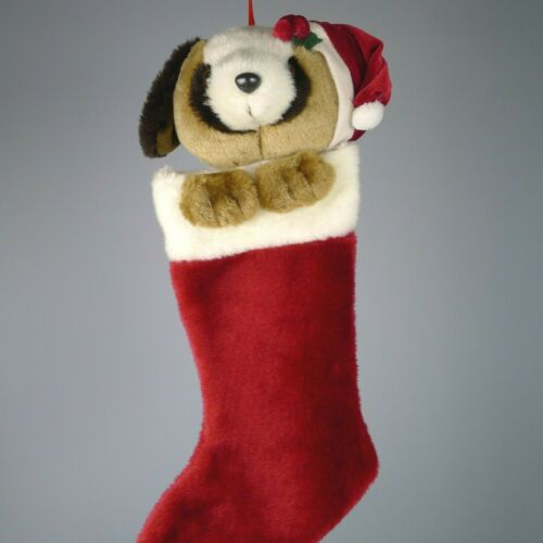 Vintage Plush Christmas Stocking Puppy Dog Head And Paws 14 Inches Long