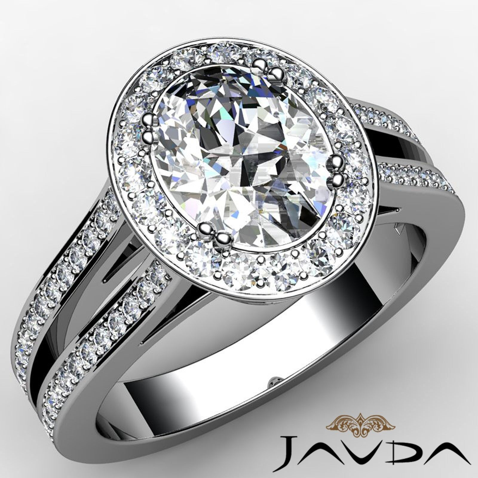 Halo Split Shank Double Prong Oval Cut Diamond Engagement Ring GIA F VS2 2.44Ct
