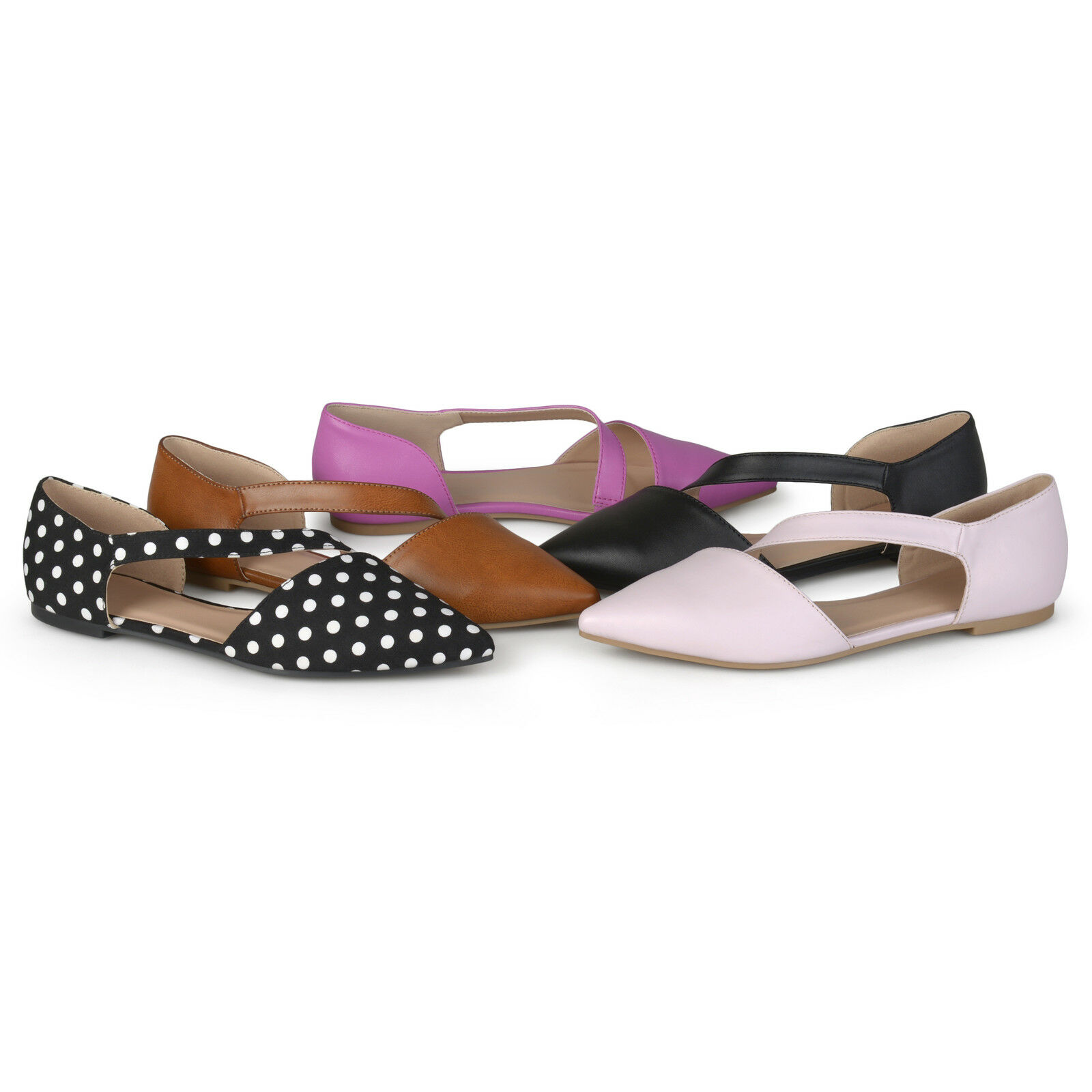 Brinley Co Womens Cross Strap Pointed Toe Flats New