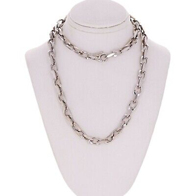 """14k White Gold Handmade Fashion Link Necklace 24"""" 6.5mm 51 grams"""