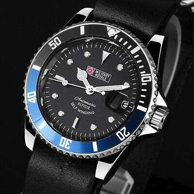Military Royale Mens Watch Mechanical Black Face Round Leather Strap Date -