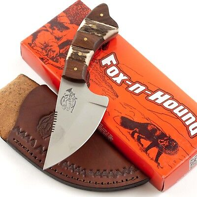 Fox N Hound Stag Wood Handle Skinner Ulu Knife FH620 Leather Sheath Fixed -