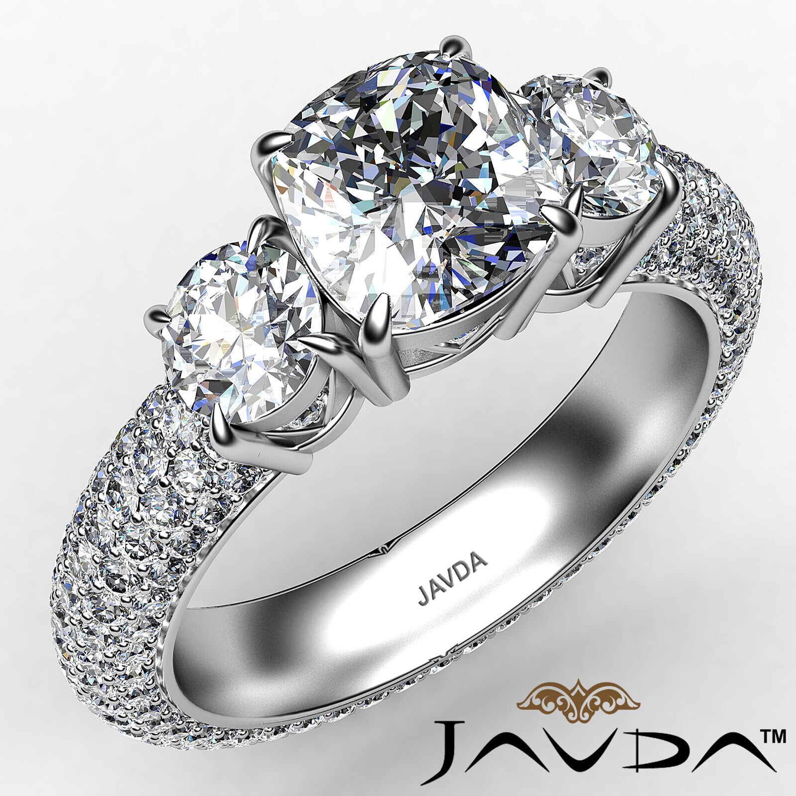 Cushion Diamond Engagement Ring Certified by GIA, G Color & SI1 clarity 3.44 ctw