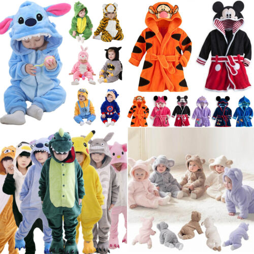 Kinder Jungen Mädchen Baby Kapuze Strampler Tier Cosplay Schlafanzüge Pyjamas
