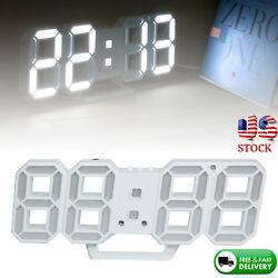 Digital LED Wall Clock Modern 3D Design Table Snooze Alarm Timer 12/24h Display