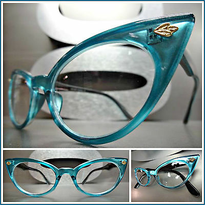 CLASSIC VINTAGE RETRO CAT EYE Style Clear Lens EYE GLASSES Teal Fashion Frame](Teal Sunglasses)