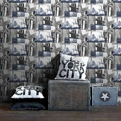 Fresco Blue/Black New York Cityscape Wallpaper