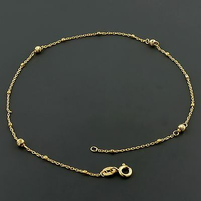 "14K YELLOW GOLD 1.5MM CABLE LINK10"" ANKLET W/ D/C BALL AND BOX STATIONS"