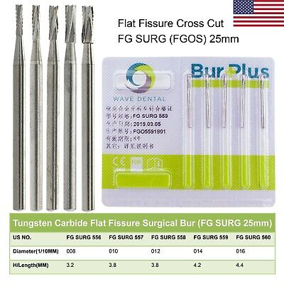 5pcs Wave Dental Surgical Burs Tungsten Carbide Fg Surg 25mm Straight Fissure